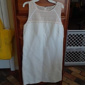 Ann Taylor Loft lined Cream & Blush dress sz 12